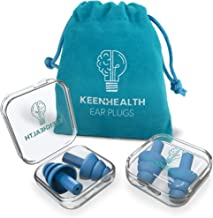 KEENHEALTH Reusable Earplugs (4 Units); Noise Reduction Rate 29dB; Secure &..