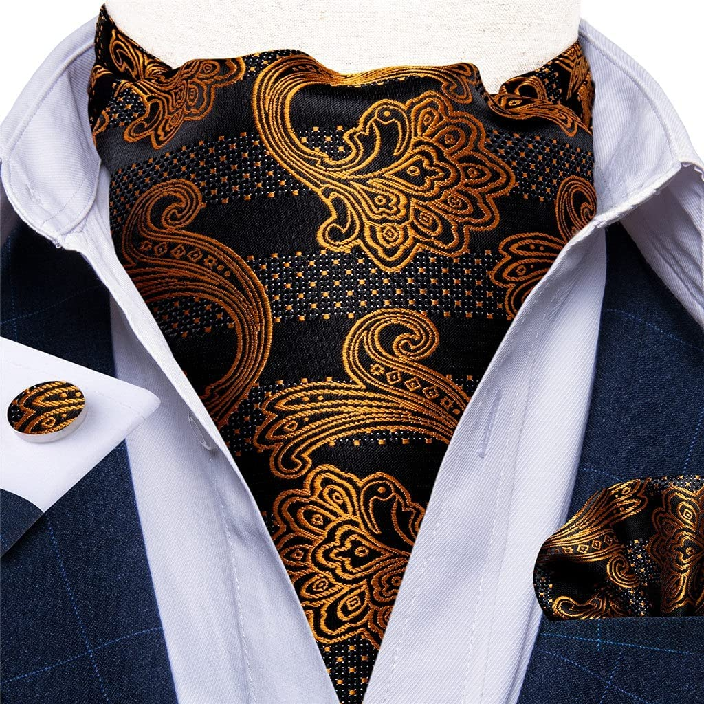 XJJZS Mens Black Gold Floral Vintage Cravat Tie Self British Gentleman Wedding Party Necktie Hanky Set (Color : Gold Floral, Size : One Size)