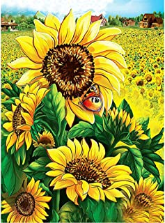 MXJSUA DIY 5D Diamond Painting by Number Kits Full Drill Rhinestone Embroidery Cross Stitch Pictures Arts Craft for Home Wall Decor,Sunflower - 12x16inch