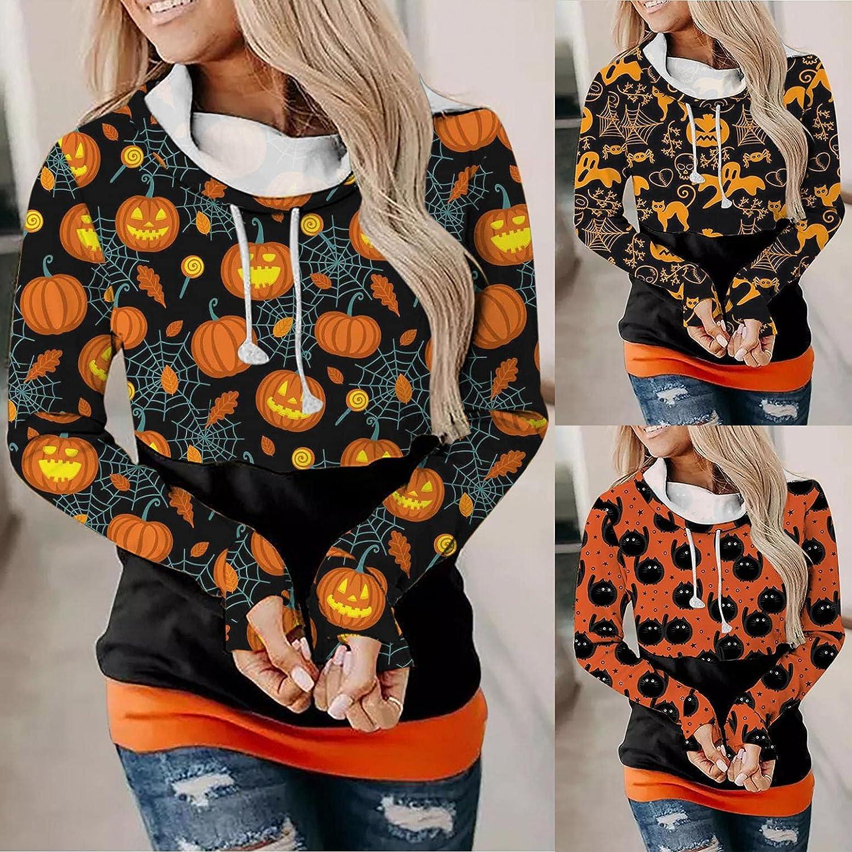 Fudule Halloween Shirts for Women Sweatshirts Cute Black Cat Pumpkin Graphic Hoodies Autumn Casual Lightweight Blouses