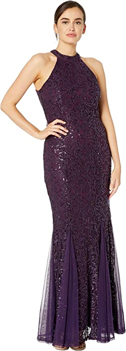 c9e37e06dca99 MARINA. Short Sleeve Sequin Soutache Dress with Illusion Plunge Neck.  $44.99MSRP: $179.00. Eggplant