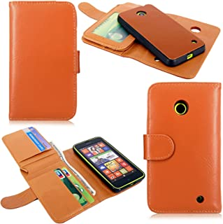 Nokia Lumia Case - Cellularvilla Pu Leather Flip Wallet Pocket Card Slots Case and Detachable Hard Soft Back Cover Pouch For Nokia Lumia 635 (Brown)