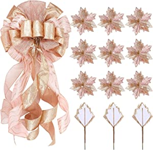 Large Christmas Tree Topper 12 x 34 Inches Decorative Hanging Bow Christmas Tree Ornaments and 12 Pieces 6.7inch Artificial Christmas Flowers for Christmas Decoration (Rose Gold)