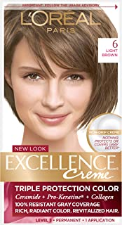 L'Oréal Paris Excellence Créme Permanent Hair Color, 6 Light Brown, 1 kit 100% Gray Coverage Hair Dye