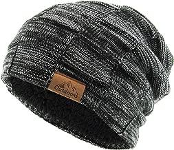 Super Warm Slouchy Fleeced Long Beanie Warm Fur Lined Winter Knit Hat Thick Skull Cap