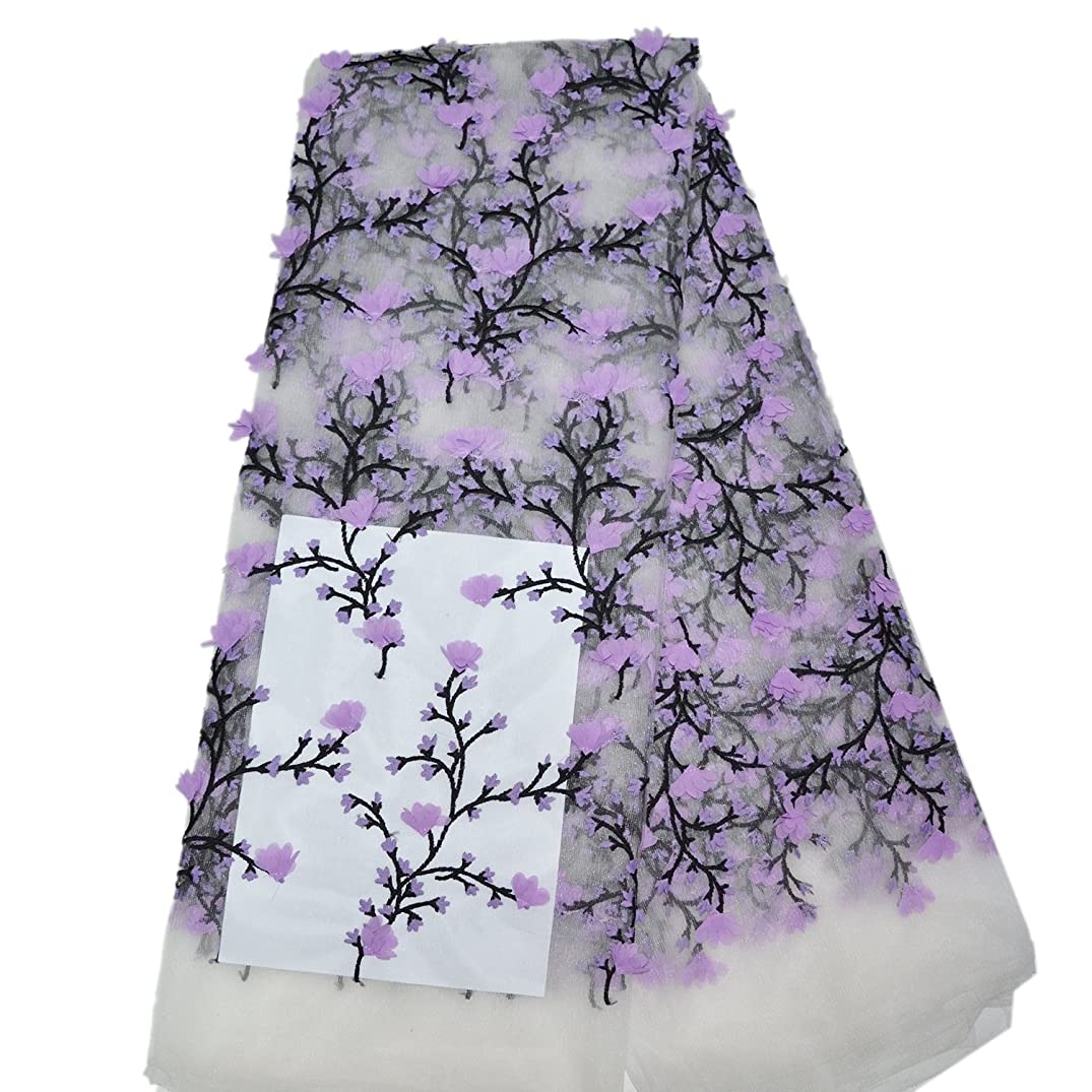 LaceQiao 5 Yards New Arrival Tulle Lace Fabric 3D Flower Lace Fabric Beautiful Applique French Lace Fabric for Party Dress (Purple)