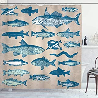 Ambesonne Fish Shower Curtain, Vintage Style Group of Various Different Fish Animals Seafood Theme Grunge Effect, Cloth Fabric Bathroom Decor Set with Hooks, 70