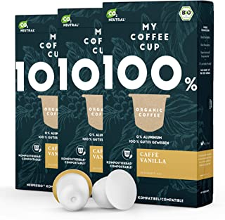 My Coffee Cup – CAFFÈ VANILLA – BIO-KAFFEE 3 PACKUNGEN I 30 Kaffeekapseln für Nespresso³-Kapselmaschinen I 100% industriell kompostierbare Kaffeekapseln – 0% Alu I Nachhaltige Kaffeekapseln