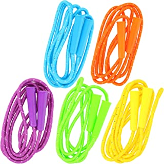 COM-FOUR® 5x springtouw voor kinderen - 210 cm, in lengte verstelbaar - springtouw in felle kleuren [selectie varieert] (0...