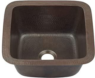 Sinkology P1U-1212BC Pollock Undermount Handmade Pure Solid 0-Hole Bar Prep Sink, 12