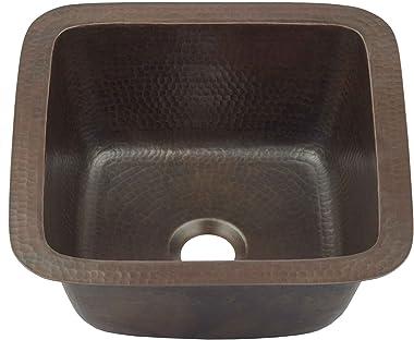 "Sinkology P1U-1212BC Pollock Undermount Handmade Pure Solid 0-Hole, 12"", Aged Copper Bar Prep Sink"