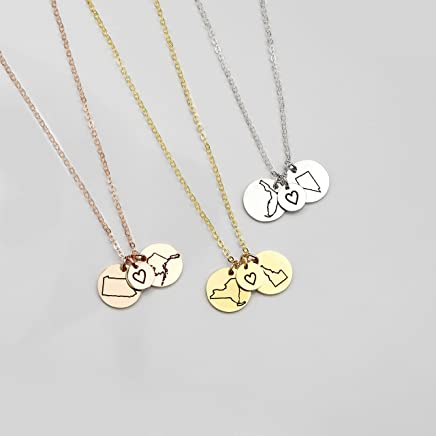 Best Friend Gifts Long Distance Friendship Jewelry State Necklace Charm Necklaces Custom Necklace Best Gifts Name Rose Necklace - CN-LDS