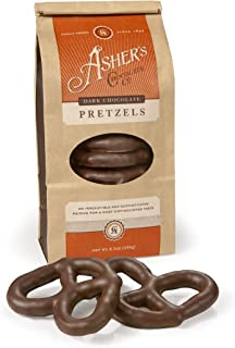 Asher's Chocolate, Chocolate Covered Pretzels, Gourmet Sweet and Salty Candy, Small Batches of Kosher Chocolate, Family Owned Since 1892, (6.5oz, Dark Chocolate)