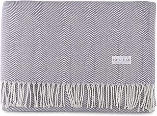 Sferra Celine Herringbone, 100% Cotton Throw Blanket - Lilac