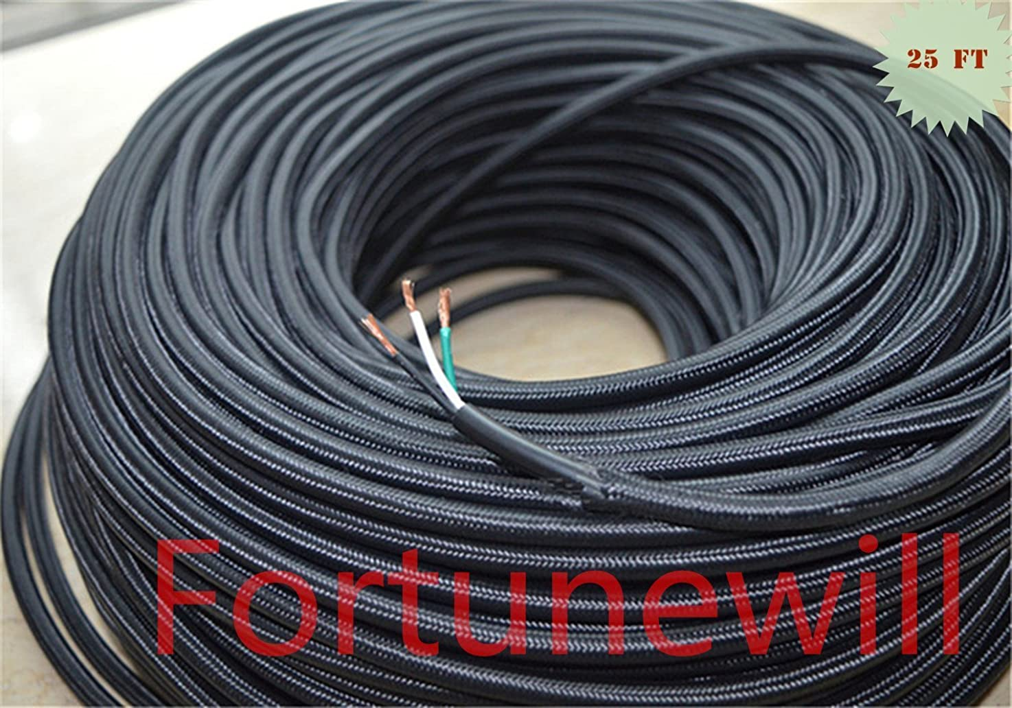 Fortunewill 25 ft 3-wire Black Cloth Covered 3-Wire Round Cord. Vintage Lamps Lights, rayon