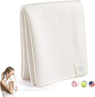 Bamboo Organic Cotton Ultra Soft Extra Absorbent Spa Towel Premium Personal Care for Face & Sensitive Skin Wash, Natural Hair Drying & Eco Travel Protection 15 X 35 Made in USA