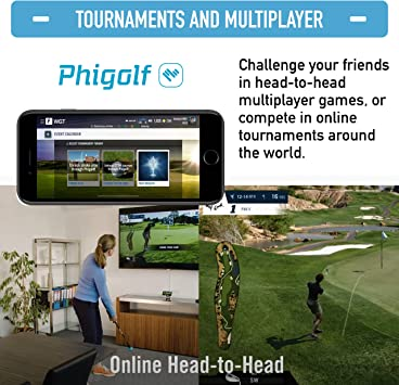 Phigolf Mobile and Home Smart Golf Game Simulator with Swing Stick - WGT Edition