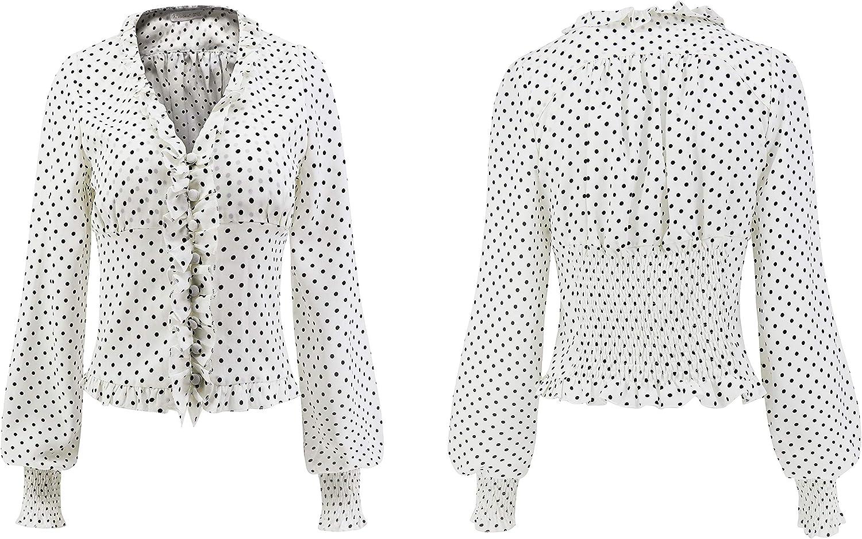 R.Vivimos Women's Chiffon Polka Dot Blouse Ruffle Lantern Sleeve Vintage Buttons Shirt Tops