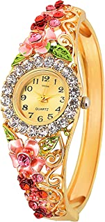 Attractionz Analog Gold Dial Pink & Gold Combination Belt Colour Women Watch & Girls Watches