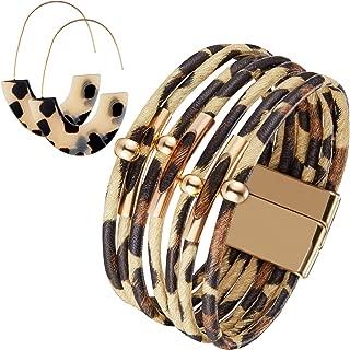 Leopard Bracelets Leopard Tube Bracelet Multilayer Leather Cuff Bracelet and Boho Leopard Earrings for Women Girls