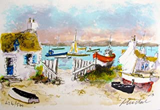 Artwork by Urbain Huchet Cottages In Chausey Hand Signed Limited Edition Lithograph Print. After the Original Painting or Drawing. Measures 7.5 Inches X 11 Inches And Is On Thick Quality Arches Pap