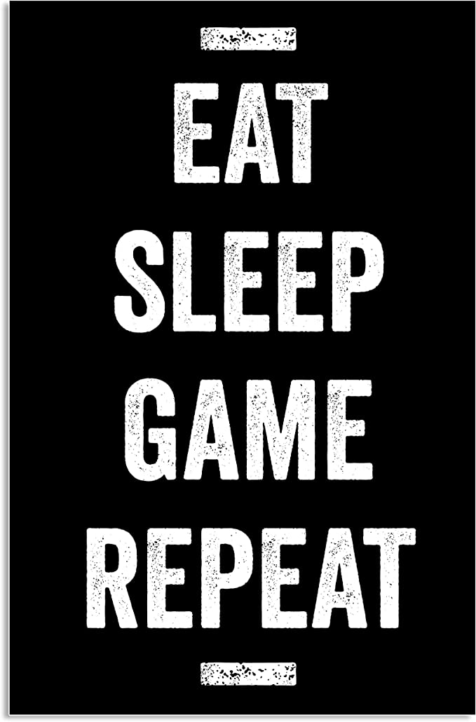 Eat Sleep Game Repeat Neon Colourful Print Kids Poster Gaming