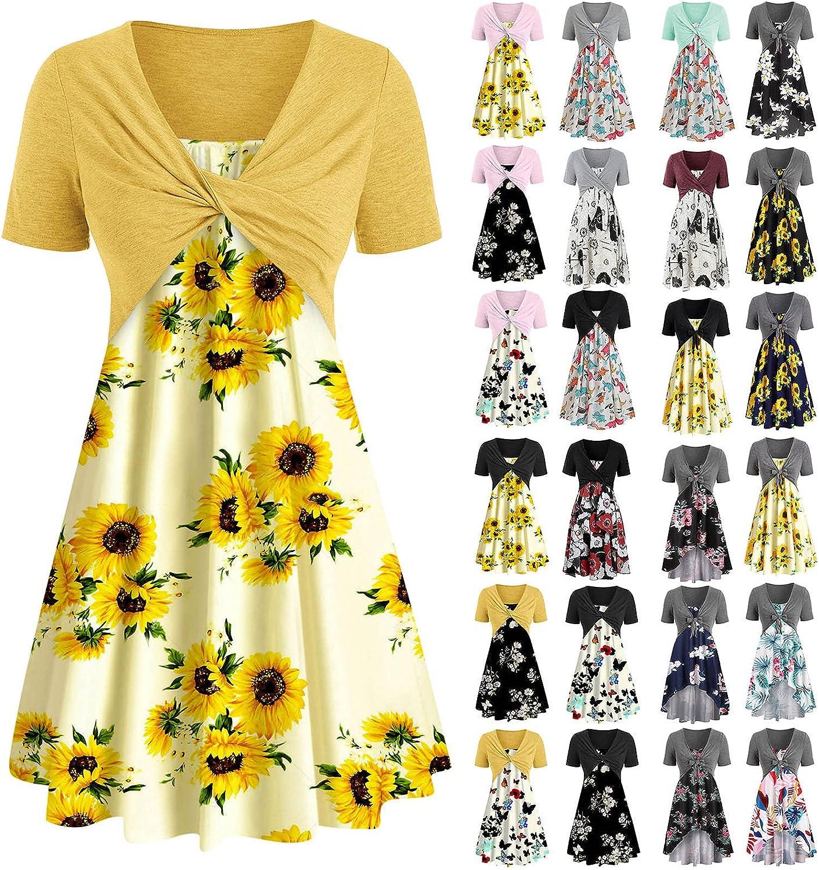 UQGHQO Casual Dresses for Women, Bowknot Bandage Sunflower Print Swing Mini Dress Suit Dress Short Sleeve Casual Sundress Blue