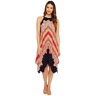 Maggy London Hanky Hem Halter Shift Dress (Navy/Pomegranate) Women