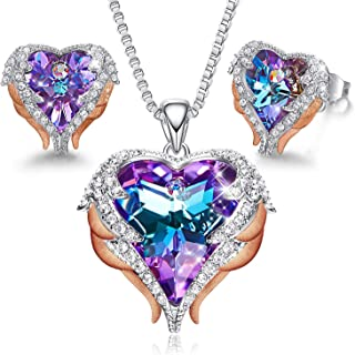 CDE Angel Wing Heart Necklaces and Earrings Embellished with Crystals from Swarovski 18K White Gold Plated Jewelry Set Gif...