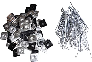 Aluminum fasteners for attaching Squirrel Guard Wire to Solar Panels. Box of 100 aluminum hooks and matching washers.