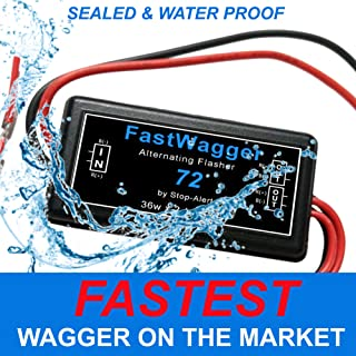 72 FastWagger Wig Wag Alternating Strobe light Electronic Flasher Relay - Powerful & Waterproof Emergency Police Ambulance Universal Controller LED & Incandescent Compatible (For Headlights use Fastwa
