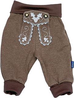 P.Eisenherz Baby Jogginghose Lederhosen Look, Braun, 100% Baumwolle, inkl. Autoaufkleber