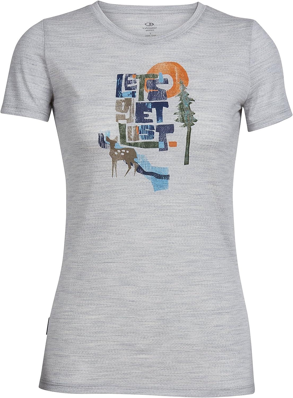 Icebreaker Merino Women's Tech Lite Short Sleeve Crewe Tee Let's Get Lost Graphic