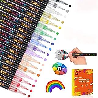 Peinture Acryliques Stylos 18 couleurs 0.7mm Marqueurs Peinture Acrylique Waterproof+permanent+séchage rapide,pour la pier...
