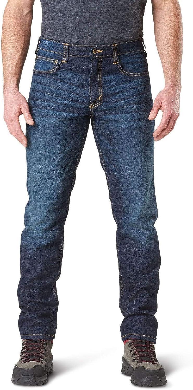 5.11 Tactical Defender-Flex Pantalones Vaqueros de Trabajo Delgados, Bolsillos de Parche, Cintura Ajustada, Estilo 74465