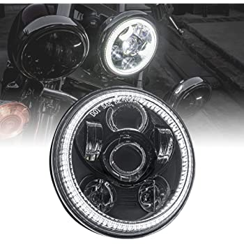 "5.75"" (5 3/4) Harley LED Headlight for Harley Davidson [Black-Finish] [HALO DRL] [DOT Compliant] Round LED Motorcycle Headlight for Dyna Street Bob Super Wide Glide Low Rider Night Rod Train Softail"