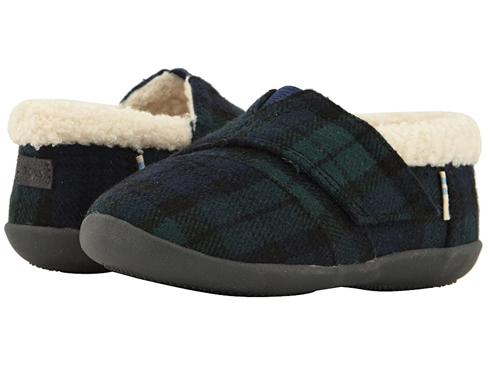 TOMS Kids House Slipper (Infant/Toddler/Little Kid) (Spruce Plaid Felt) Kids Shoes