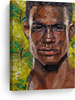 Smile Art Design Beautiful Black Man by Kenney Mencher, African American Man Acrylic Painting Canvas Print Living Room Decor Wall Art Bedroom Home Decor Artwork Ready to Hang Made in USA - 22x15