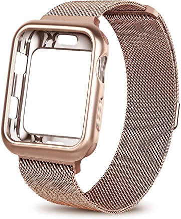 HONEJEEN Compatible with Apple Watch Band 38mm 42mm with Case, Stainless Steel Mesh with Adjustable