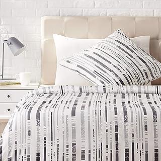 AmazonBasics - Juego de ropa de cama con funda de edredón, de satén, 135 x200 cm / 80 x 80 cm x 1, Gris a rayas texturizado