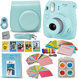 Fujifilm Instax Mini 9 Instant Fuji Camera (ICE Blue) + Accessories Bundle + Custom..