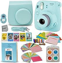 Fujifilm Instax Mini 9 Instant Fuji Camera (ICE Blue) + Accessories Bundle + Custom Matching Case w/Neck Strap + Photo Album + Assorted Frames + 4 Color Filters + 60 Sticker Frames + More