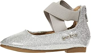 bebe Baby-Girls Toddler Girl's Vinyl Glitter Flat with Ankle Strap Detail