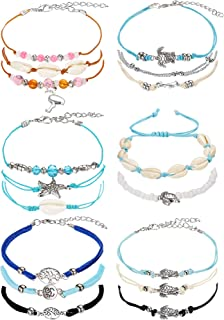 meekoo 17 Pieces Anklet Bracelets Adjustable Boho Turtle Starfish Shell Flamingo Beach Ankle Bracelets Foot Jewelry for Women