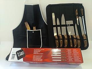 Royalty Line Cuchillos de Cocina Juego Profesional,maletin 9 Piezas Acero Inoxidable Delantal y Manta Transportadora