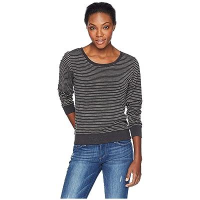 Life is Good Printed Stripe Supreme Scoop Pullover (Night Black) Women