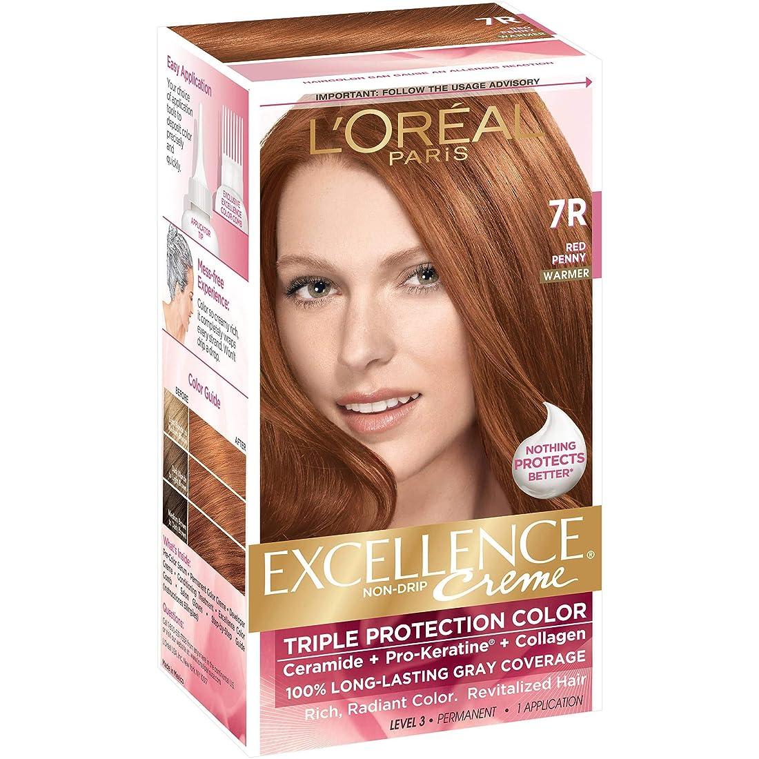 下着悩み特許L'Oreal Paris Excellence Non-Drip Creme Hair Color, Red Penny (Warmer) [7R] 1 ea by L'Oreal Paris