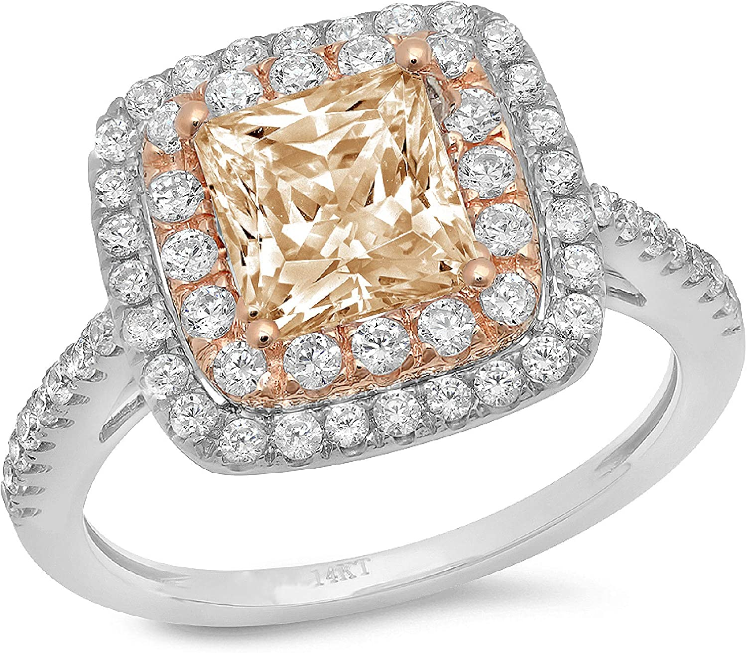 2.3ct Princess Cut Double Halo Solitaire with Accent Designer Genuine Natural Morganite Gemstone Ideal VVS1 Engagement Promise Statement Anniversary Bridal Wedding ring 14k 2 tone Gold