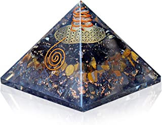 Orgonite Crystal Triple Protection Orgone Pyramid with Black Tourmaline, Tiger Eye and Hematite Crystals – Flower of Life ...