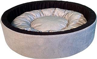 Mellifluous Reversible Round Shape Soft Velvet Cat Dog Pet Bed (Small, Grey-Black)